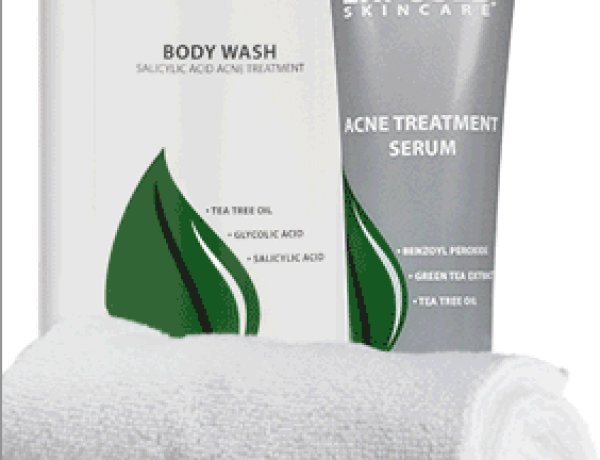 exposed body acne kit containing body wash, acne clearing serum, and derm x cloth